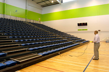arena retractable seating power operation