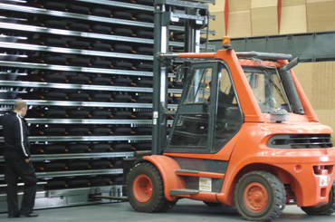 arena retractable seating forklift