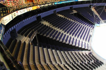 arena seating tapered retractable open