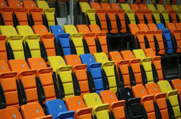 colourful arena seating
